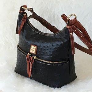 Dooney Bourke Black Ostrich Crossbody Shoulder Bag